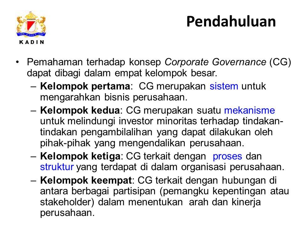 Pendahuluan Pemahaman terhadap konsep Corporate Governance (CG) dapat dibagi dalam empat kelompok besar.