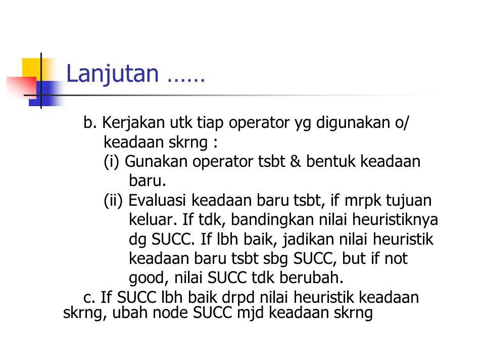 Lanjutan …… b. Kerjakan utk tiap operator yg digunakan o/