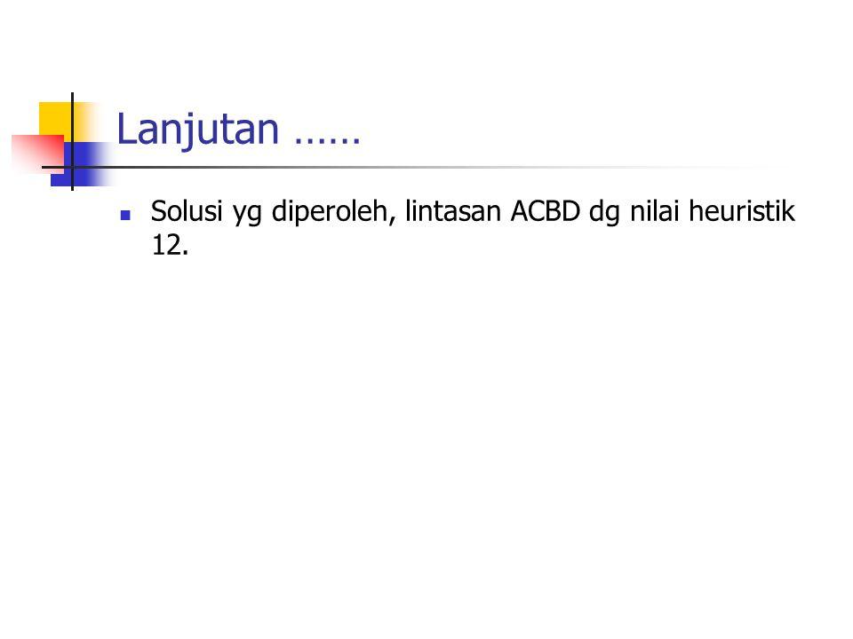Lanjutan …… Solusi yg diperoleh, lintasan ACBD dg nilai heuristik 12.