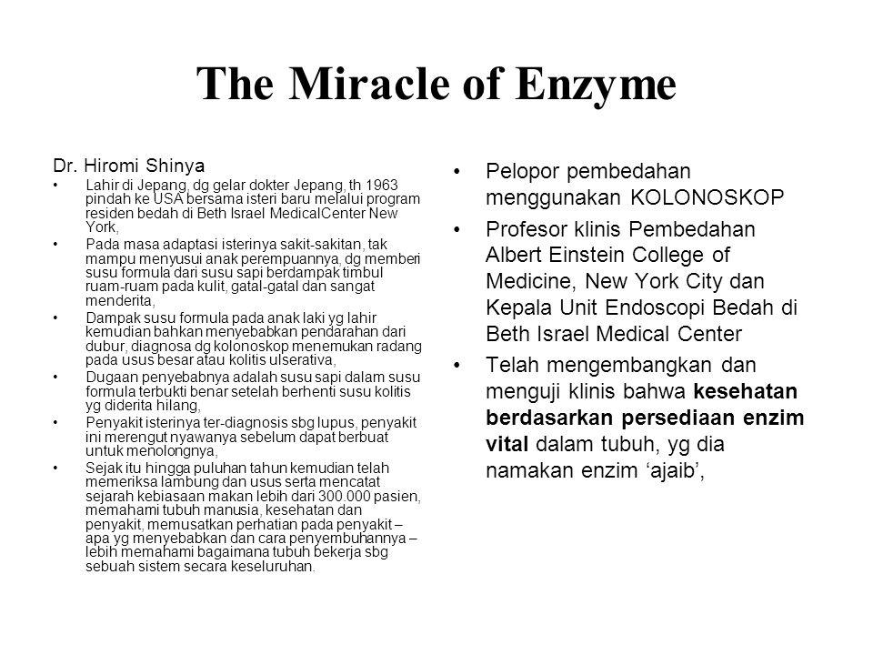 The Miracle of Enzyme Pelopor pembedahan menggunakan KOLONOSKOP