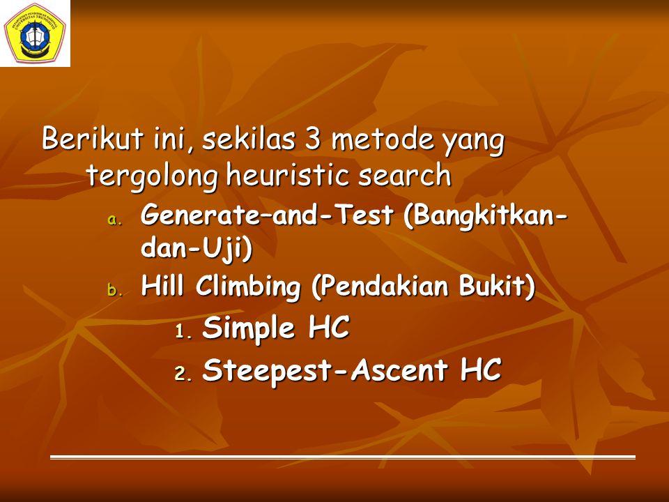 Berikut ini, sekilas 3 metode yang tergolong heuristic search