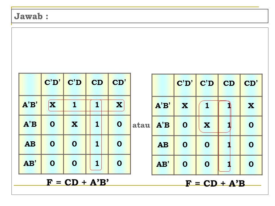 F = CD + A'B' F = CD + A'B Jawab : C'D' C'D CD CD' A'B' X 1 A'B AB AB'