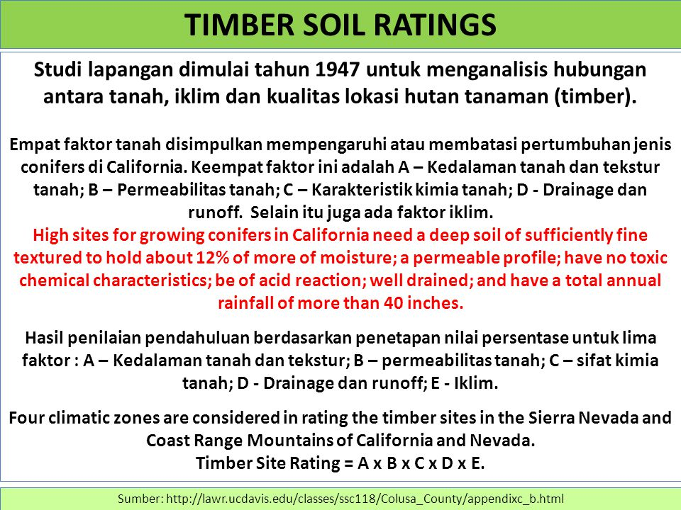 Timber Site Rating = A x B x C x D x E.