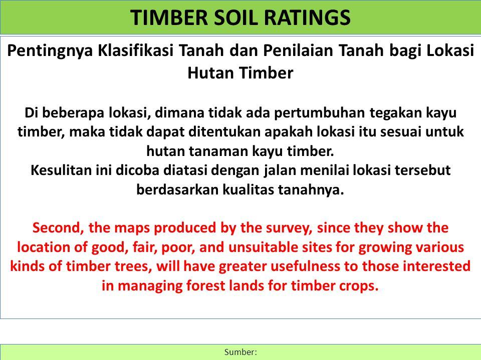 TIMBER SOIL RATINGS Pentingnya Klasifikasi Tanah dan Penilaian Tanah bagi Lokasi Hutan Timber.