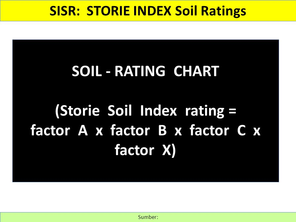 (Storie Soil Index rating = factor A x factor B x factor C x factor X)