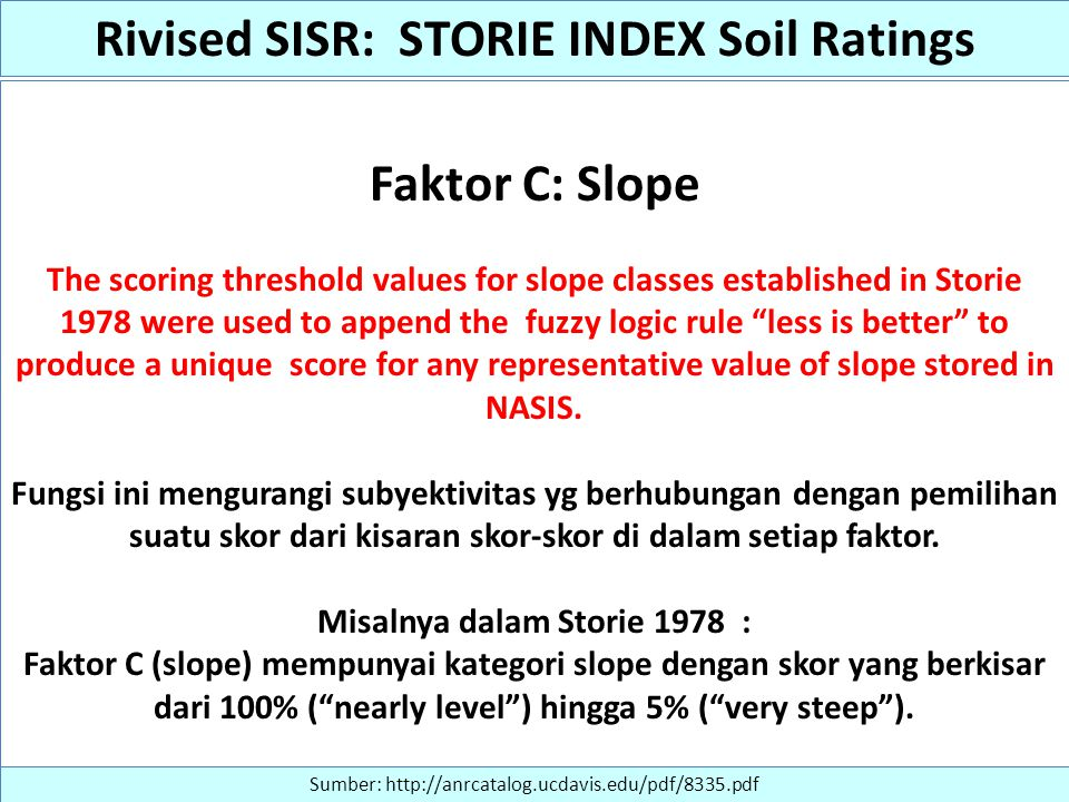 Rivised SISR: STORIE INDEX Soil Ratings Misalnya dalam Storie 1978 :