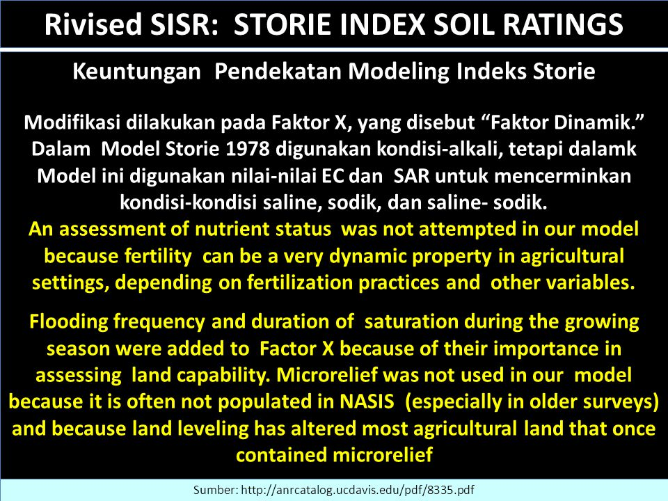 Rivised SISR: STORIE INDEX SOIL RATINGS