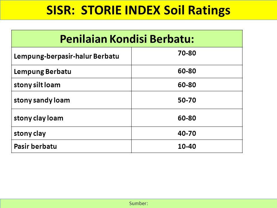 SISR: STORIE INDEX Soil Ratings Penilaian Kondisi Berbatu: