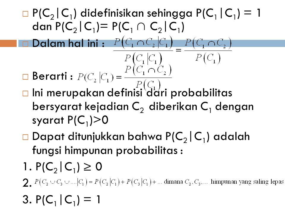 P(C2|C1) didefinisikan sehingga P(C1|C1) = 1 dan P(C2|C1)= P(C1 ∩ C2|C1)