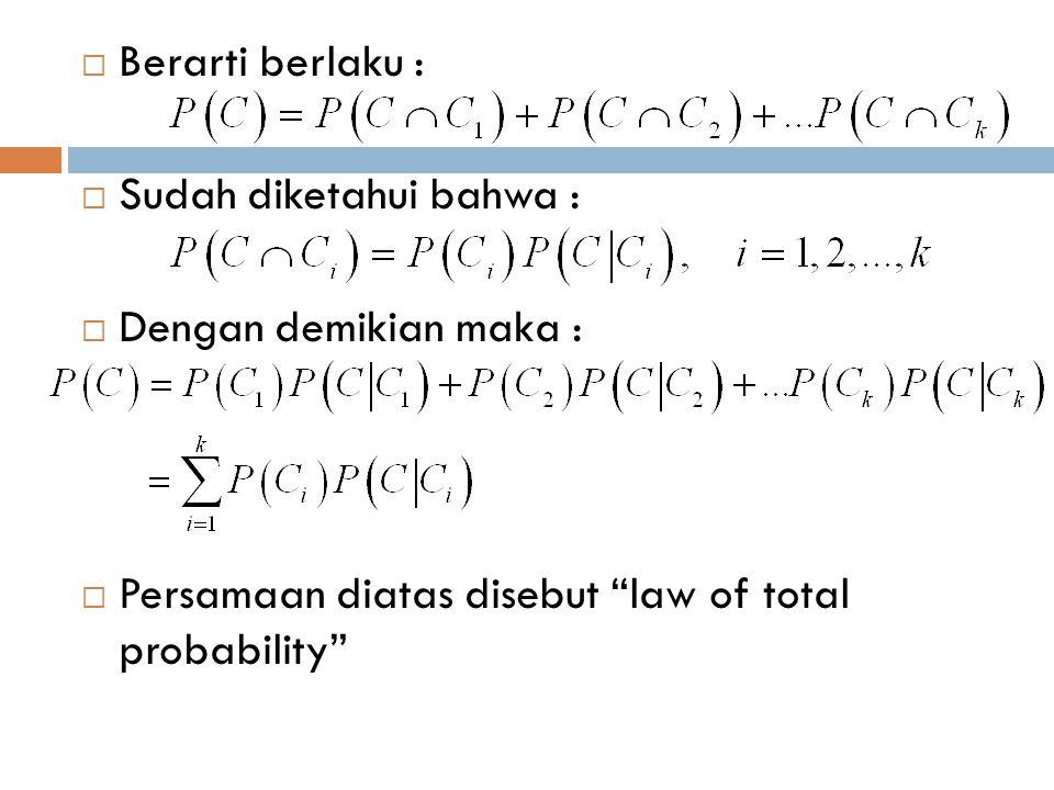 Berarti berlaku : Sudah diketahui bahwa : Dengan demikian maka : Persamaan diatas disebut law of total probability