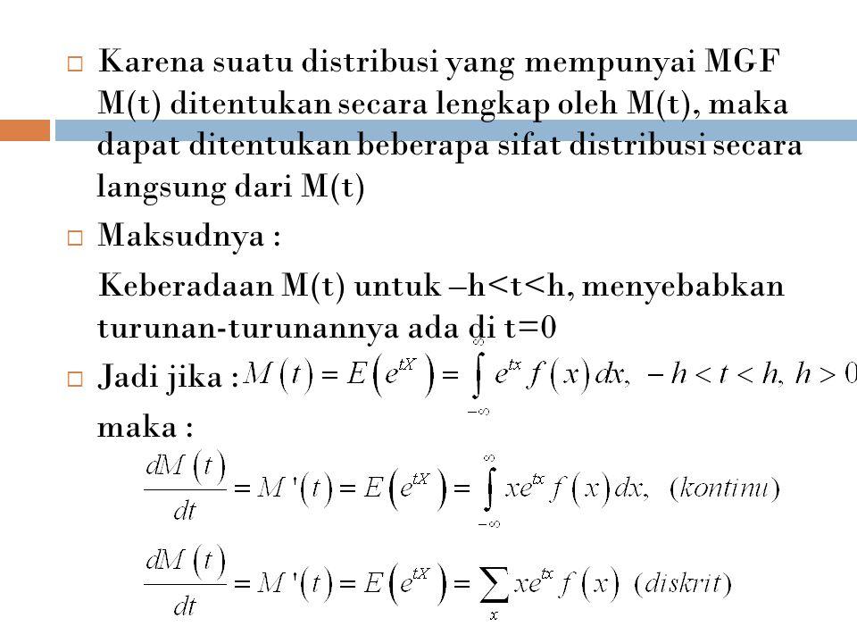 Karena suatu distribusi yang mempunyai MGF M(t) ditentukan secara lengkap oleh M(t), maka dapat ditentukan beberapa sifat distribusi secara langsung dari M(t)