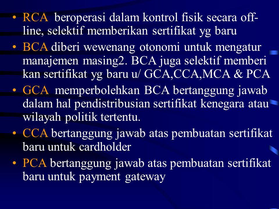 RCA beroperasi dalam kontrol fisik secara off-line, selektif memberikan sertifikat yg baru