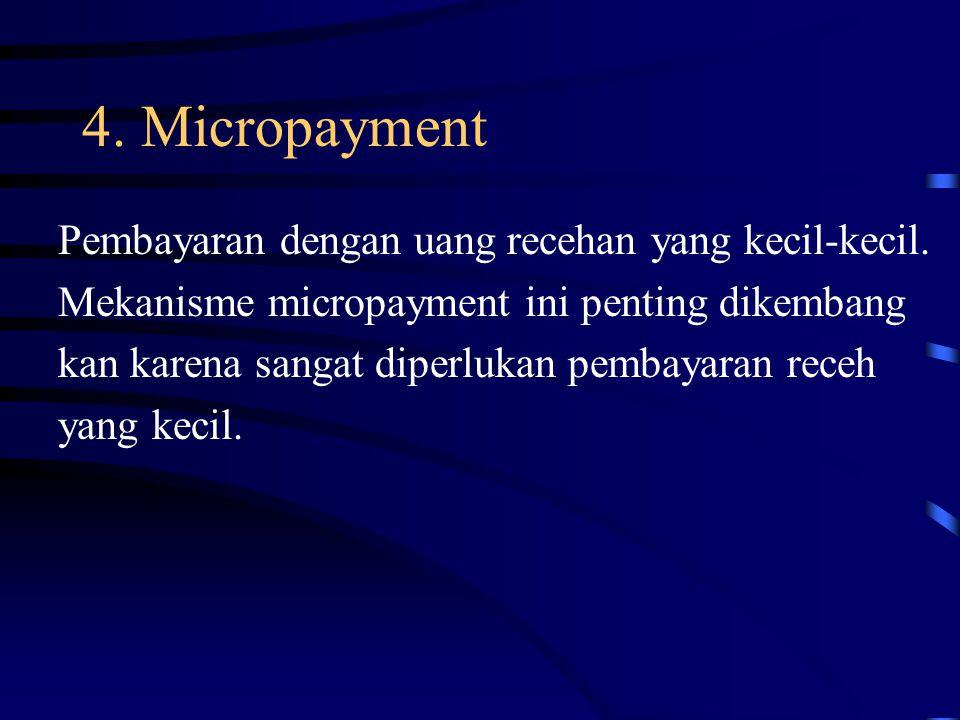 4. Micropayment Pembayaran dengan uang recehan yang kecil-kecil.