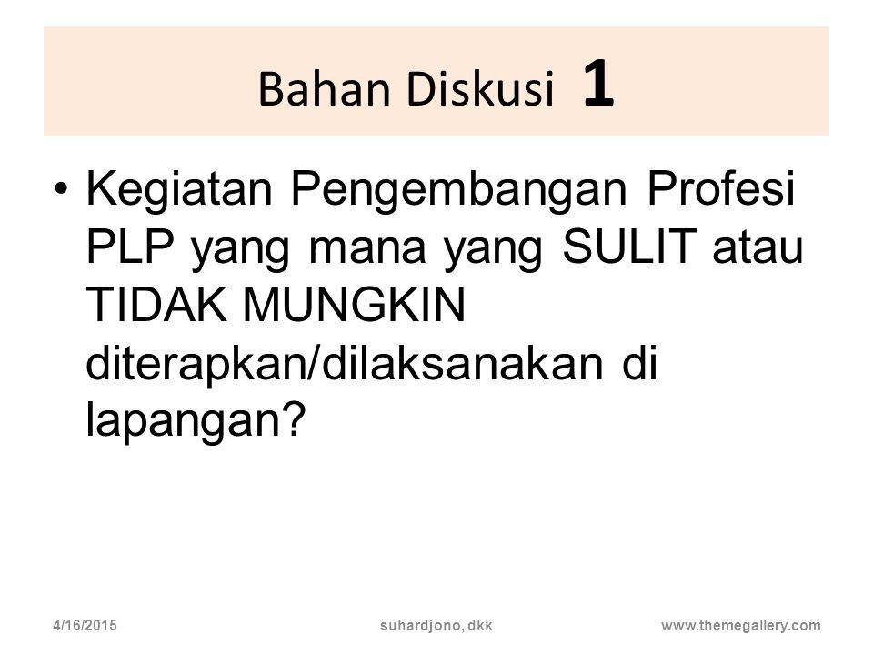 Bahan Diskusi 1 Kegiatan Pengembangan Profesi PLP yang mana yang SULIT atau TIDAK MUNGKIN diterapkan/dilaksanakan di lapangan