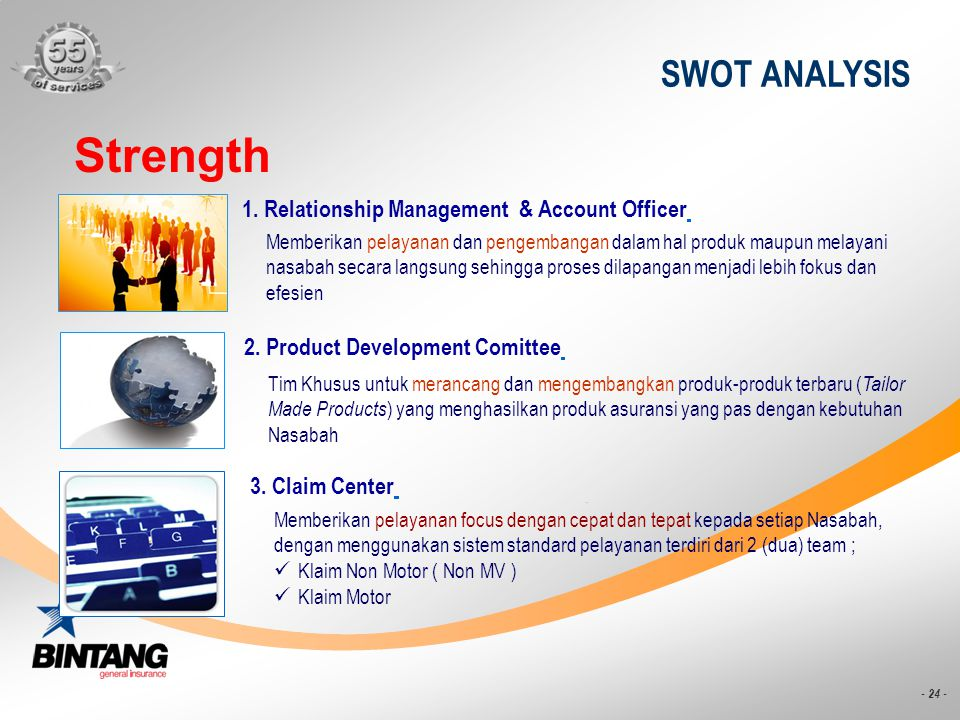 Strength SWOT ANALYSIS 1. Relationship Management & Account Officer