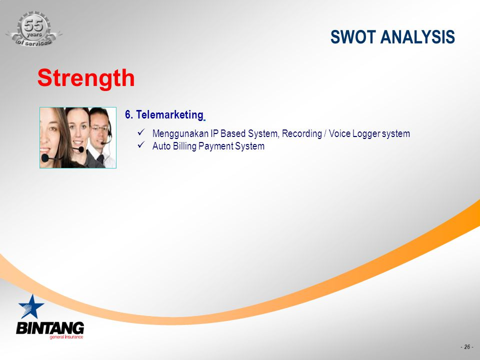 Strength SWOT ANALYSIS 6. Telemarketing