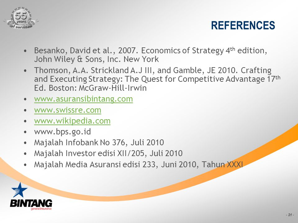 REFERENCES Besanko, David et al., 2007. Economics of Strategy 4th edition, John Wiley & Sons, Inc. New York.