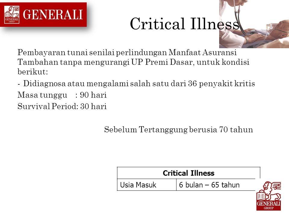 Critical Illness Pembayaran tunai senilai perlindungan Manfaat Asuransi Tambahan tanpa mengurangi UP Premi Dasar, untuk kondisi berikut: