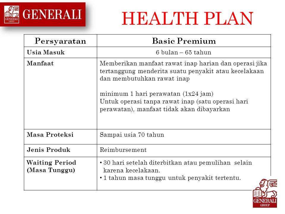 HEALTH PLAN Persyaratan Basic Premium Usia Masuk 6 bulan – 65 tahun