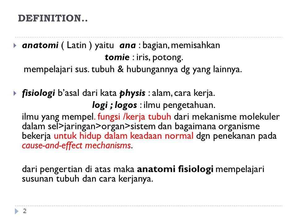anatomi ( Latin ) yaitu ana : bagian, memisahkan tomie : iris, potong.