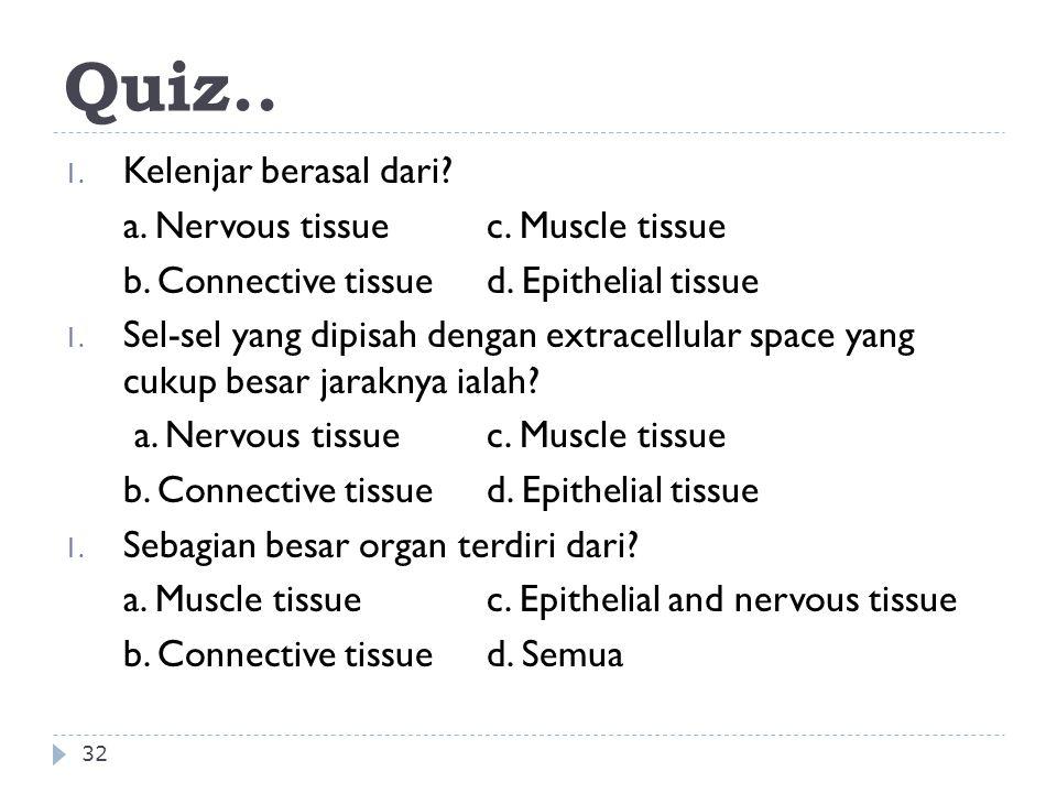 Quiz.. Kelenjar berasal dari a. Nervous tissue c. Muscle tissue