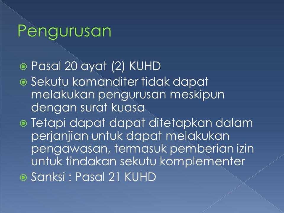 Pengurusan Pasal 20 ayat (2) KUHD