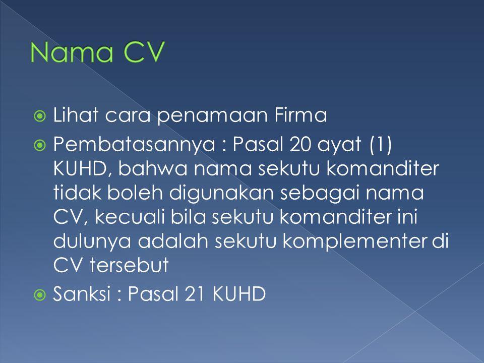 Nama CV Lihat cara penamaan Firma