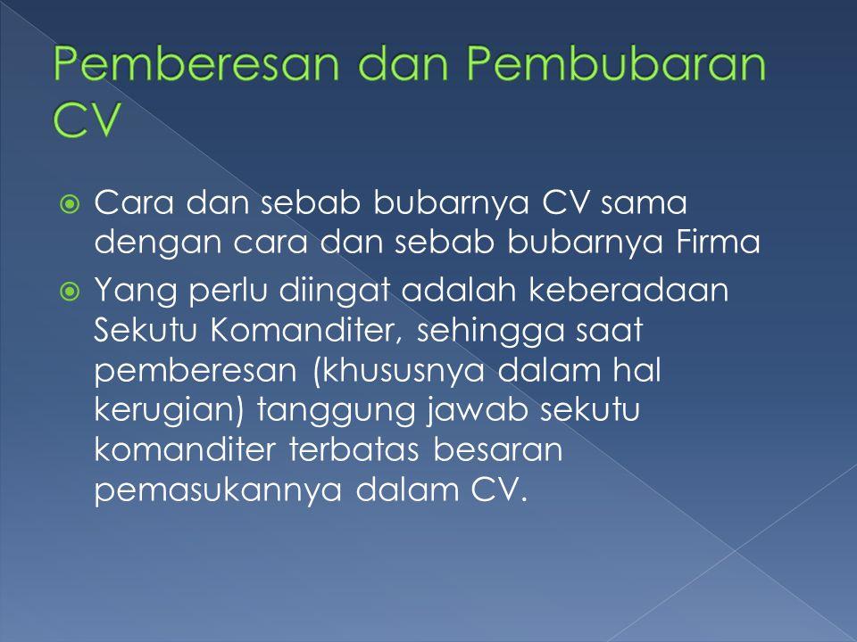 Pemberesan dan Pembubaran CV