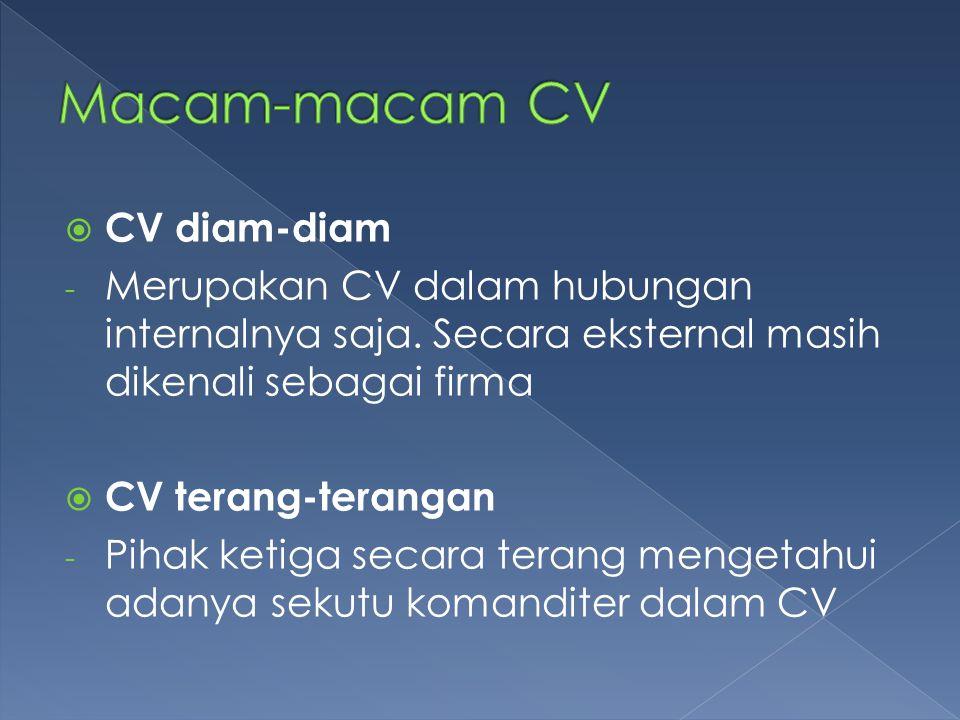 Macam-macam CV CV diam-diam