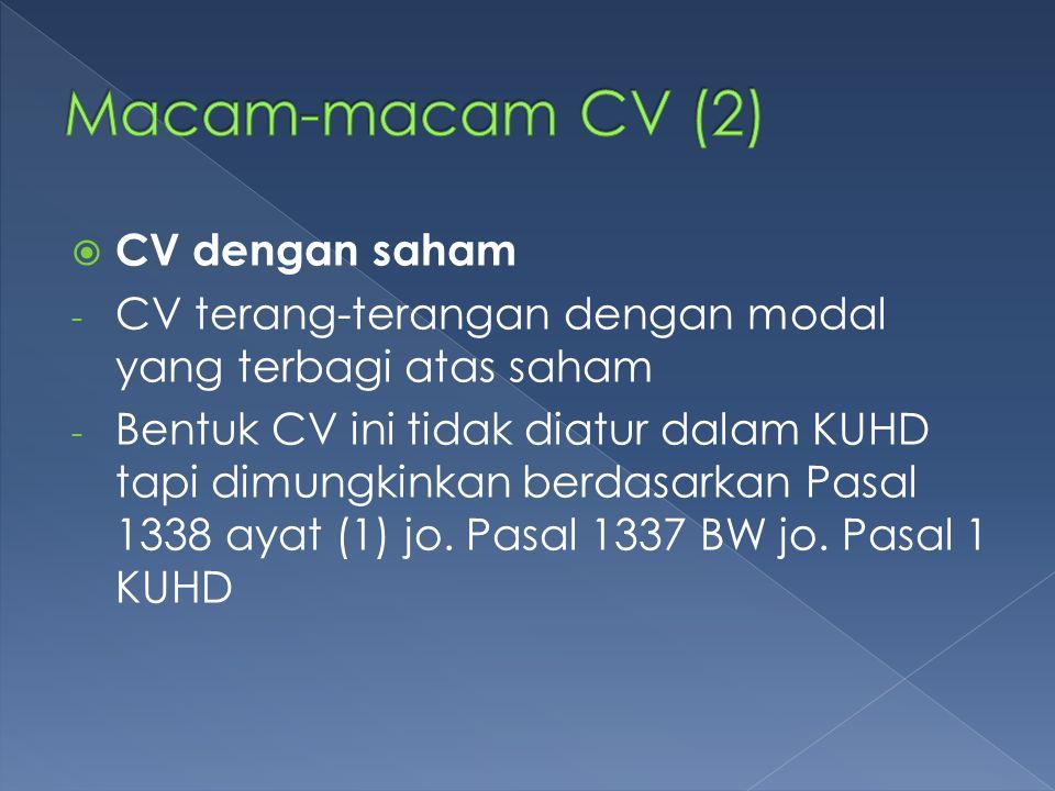 Macam-macam CV (2) CV dengan saham