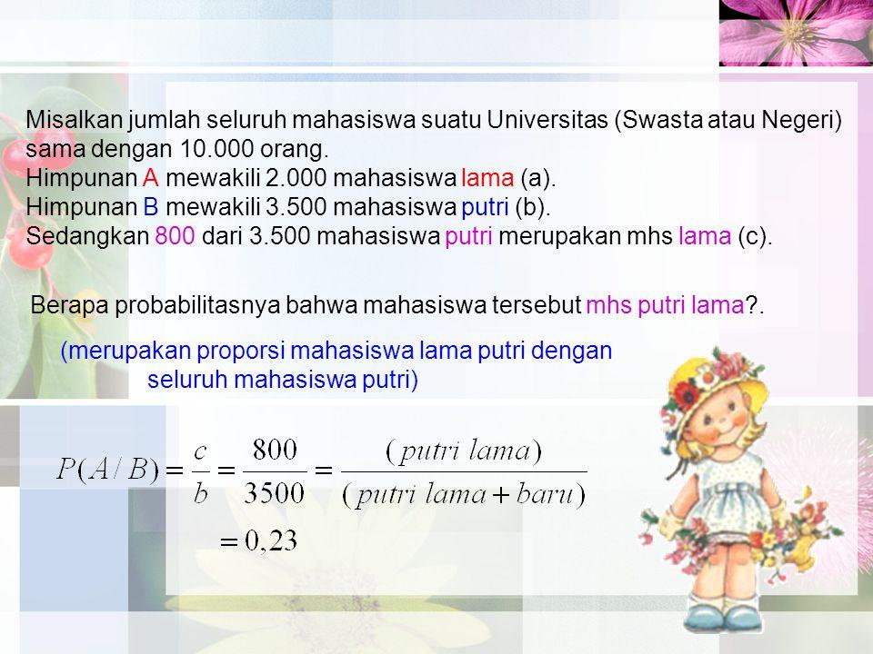 Misalkan jumlah seluruh mahasiswa suatu Universitas (Swasta atau Negeri) sama dengan 10.000 orang.