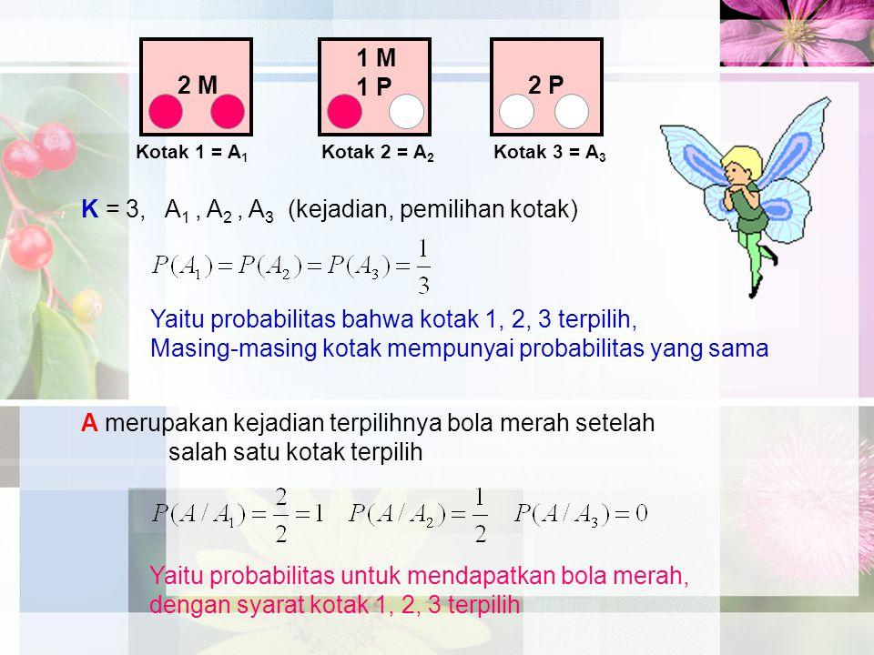 K = 3, A1 , A2 , A3 (kejadian, pemilihan kotak)
