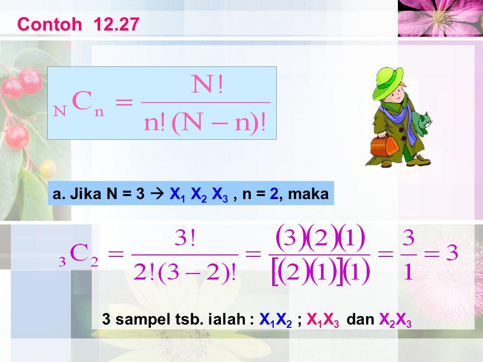 Contoh 12.27 a. Jika N = 3  X1 X2 X3 , n = 2, maka