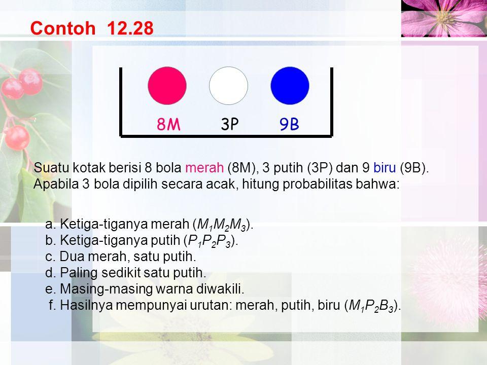 Contoh 12.28 8M. 3P. 9B. Suatu kotak berisi 8 bola merah (8M), 3 putih (3P) dan 9 biru (9B).