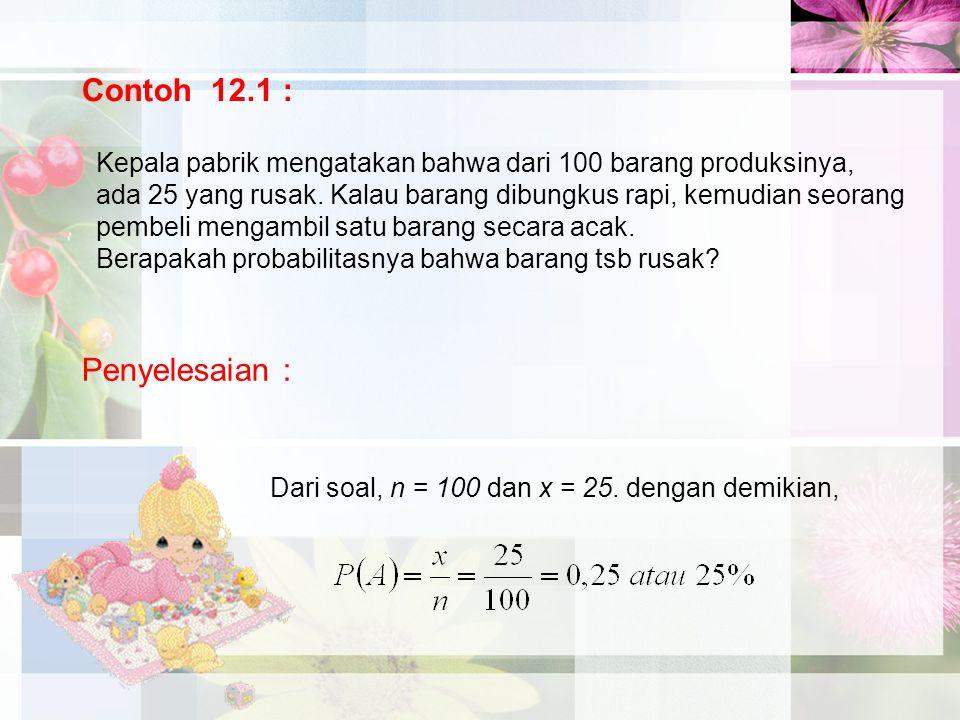 Contoh 12.1 : Penyelesaian :