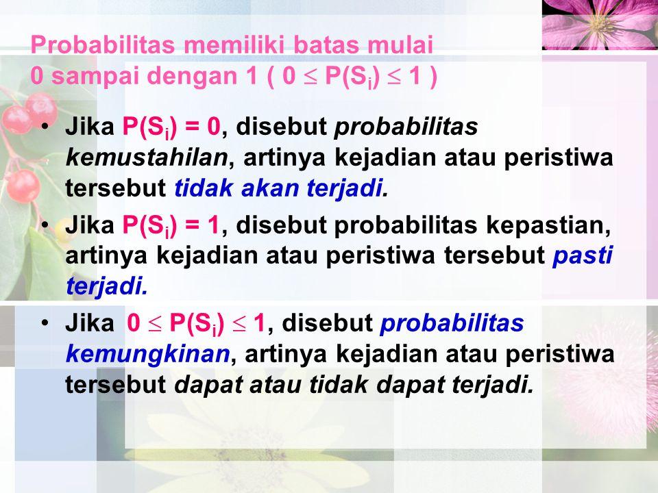 Probabilitas memiliki batas mulai 0 sampai dengan 1 ( 0  P(Si)  1 )