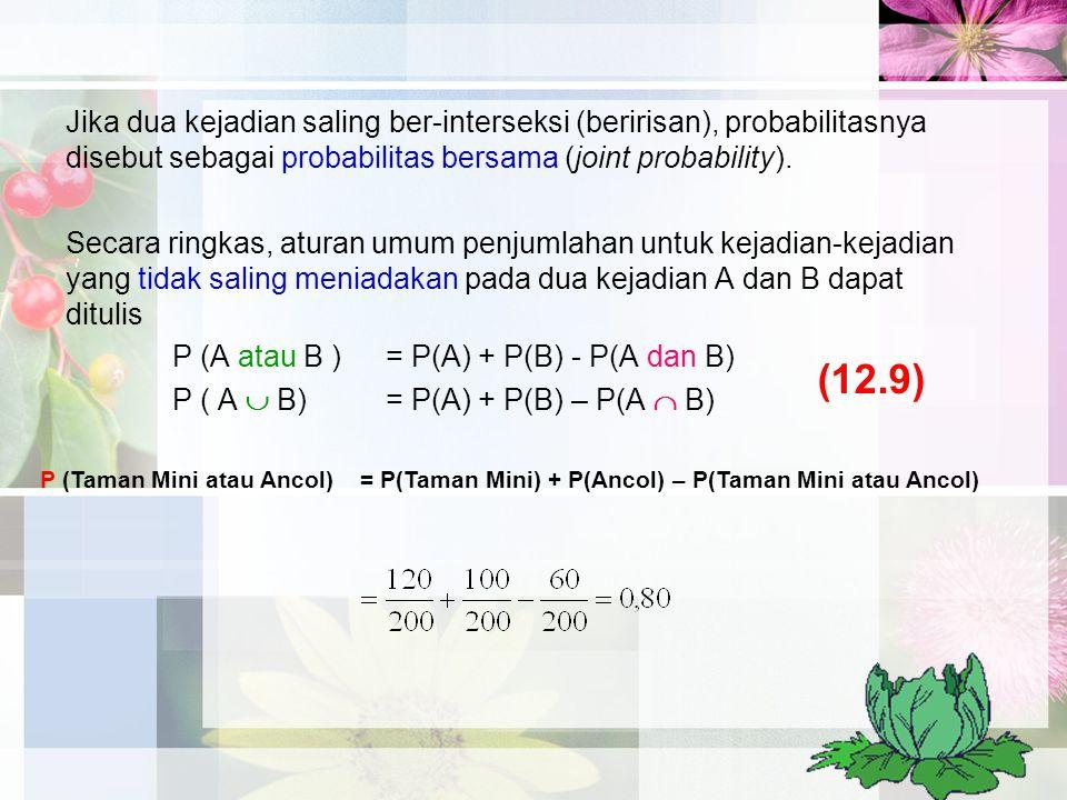 Jika dua kejadian saling ber-interseksi (beririsan), probabilitasnya disebut sebagai probabilitas bersama (joint probability).