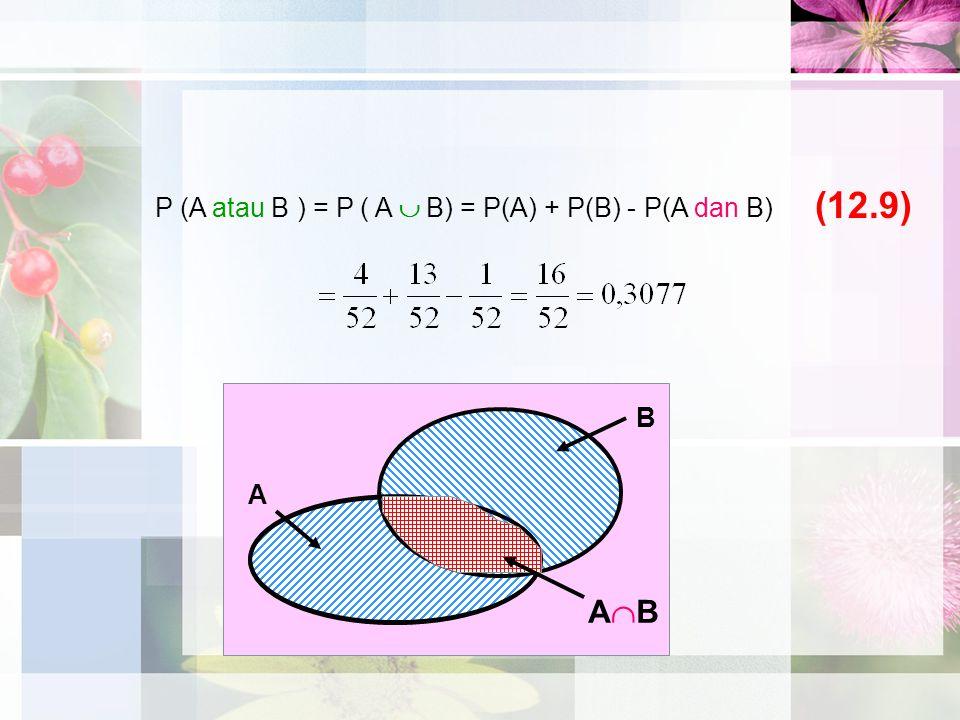(12.9) P (A atau B ) = P ( A  B) = P(A) + P(B) - P(A dan B) B A AB