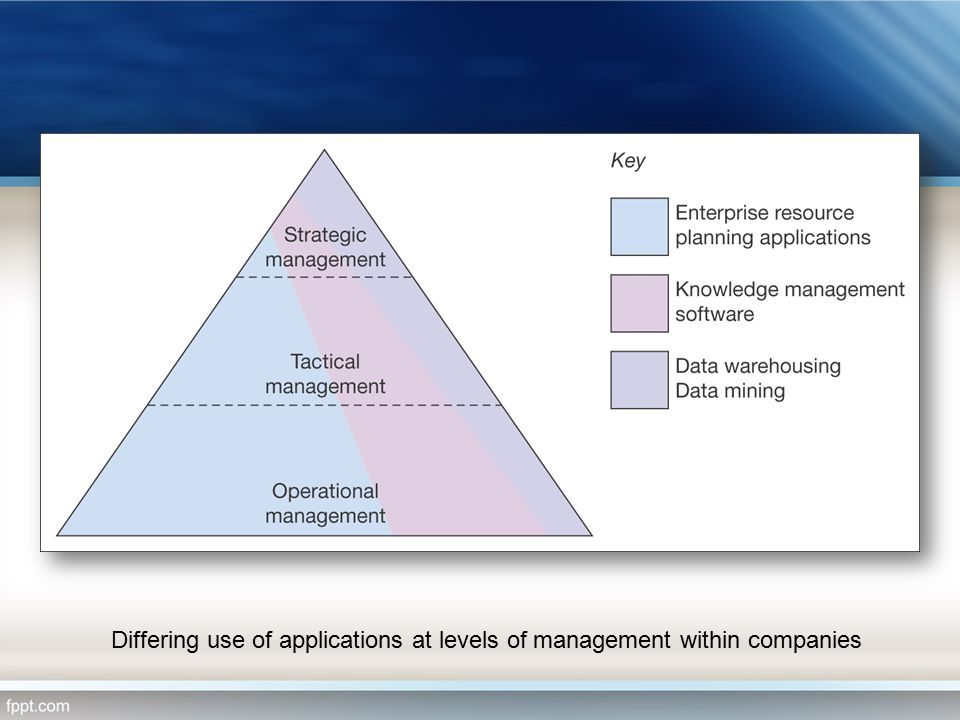 Differing use of applications at levels of management within companies