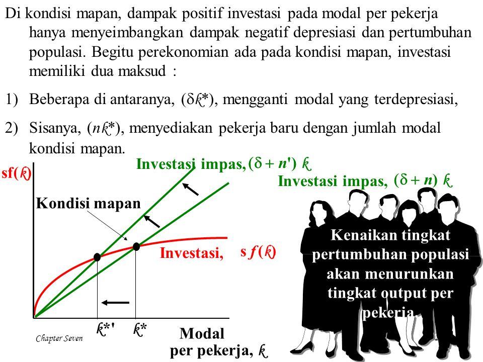Di kondisi mapan, dampak positif investasi pada modal per pekerja hanya menyeimbangkan dampak negatif depresiasi dan pertumbuhan populasi. Begitu perekonomian ada pada kondisi mapan, investasi memiliki dua maksud :