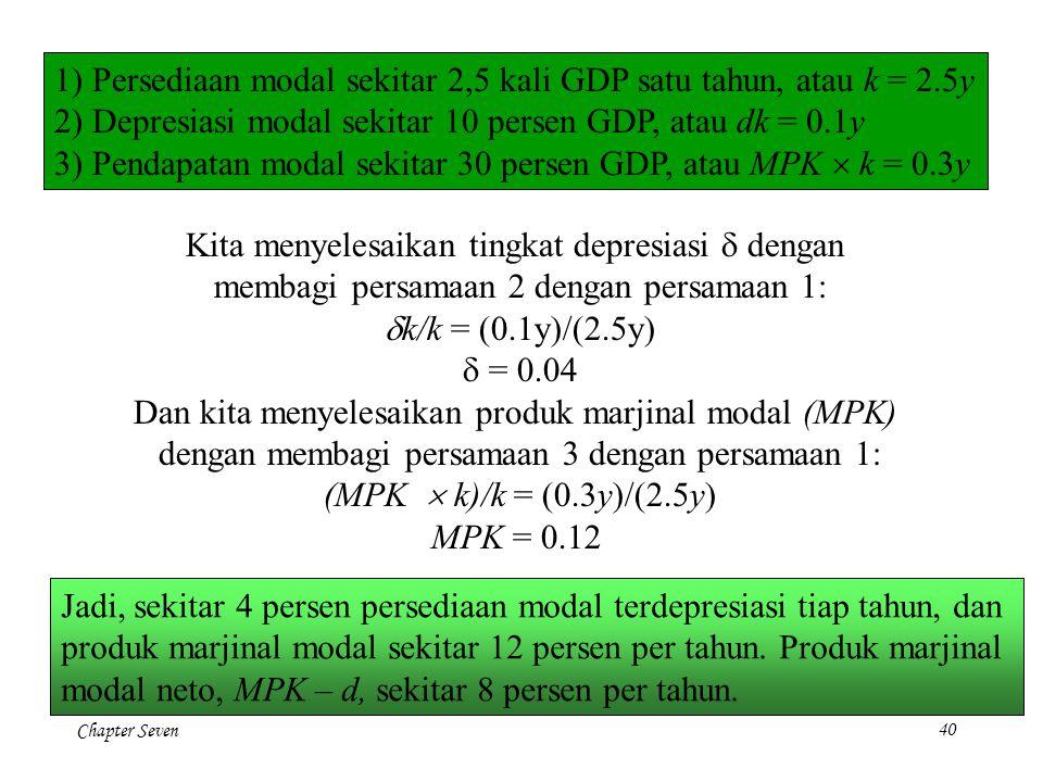 1) Persediaan modal sekitar 2,5 kali GDP satu tahun, atau k = 2.5y