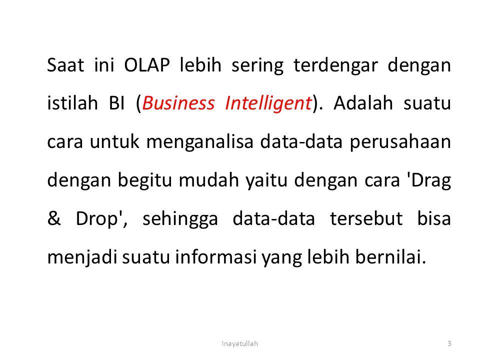 Saat ini OLAP lebih sering terdengar dengan istilah BI (Business Intelligent). Adalah suatu cara untuk menganalisa data-data perusahaan dengan begitu mudah yaitu dengan cara Drag & Drop , sehingga data-data tersebut bisa menjadi suatu informasi yang lebih bernilai.