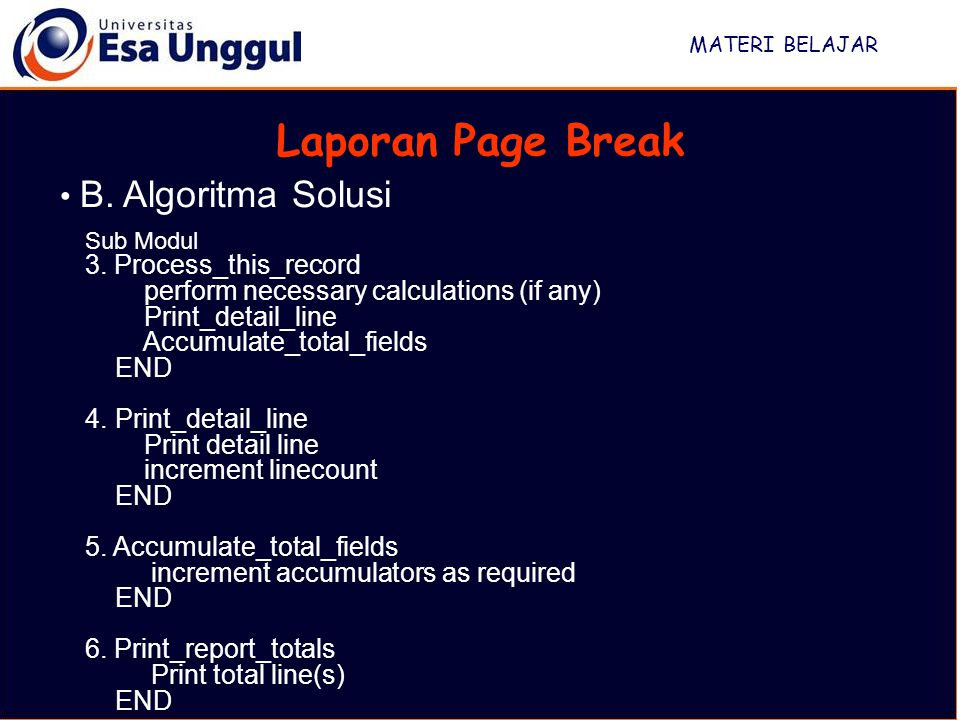 Laporan Page Break B. Algoritma Solusi 3. Process_this_record