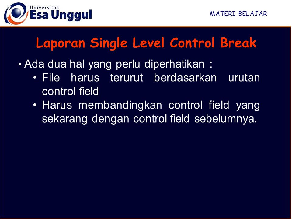 Laporan Single Level Control Break