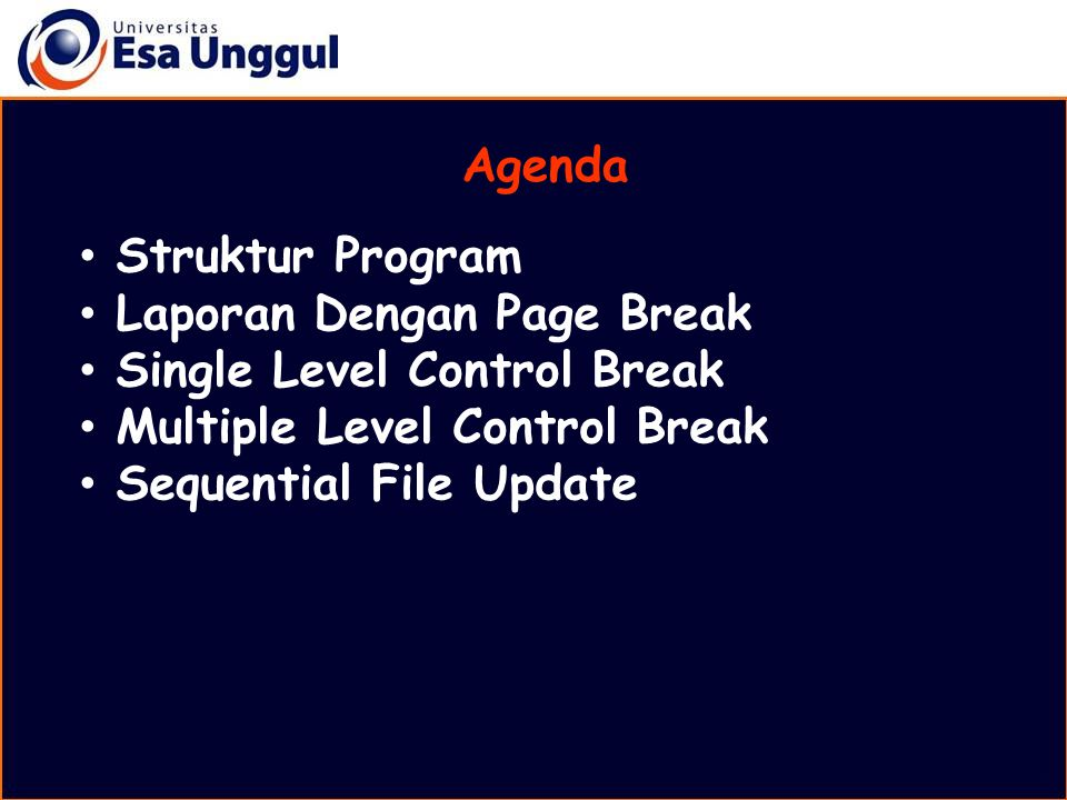 Agenda Struktur Program. Laporan Dengan Page Break. Single Level Control Break. Multiple Level Control Break.