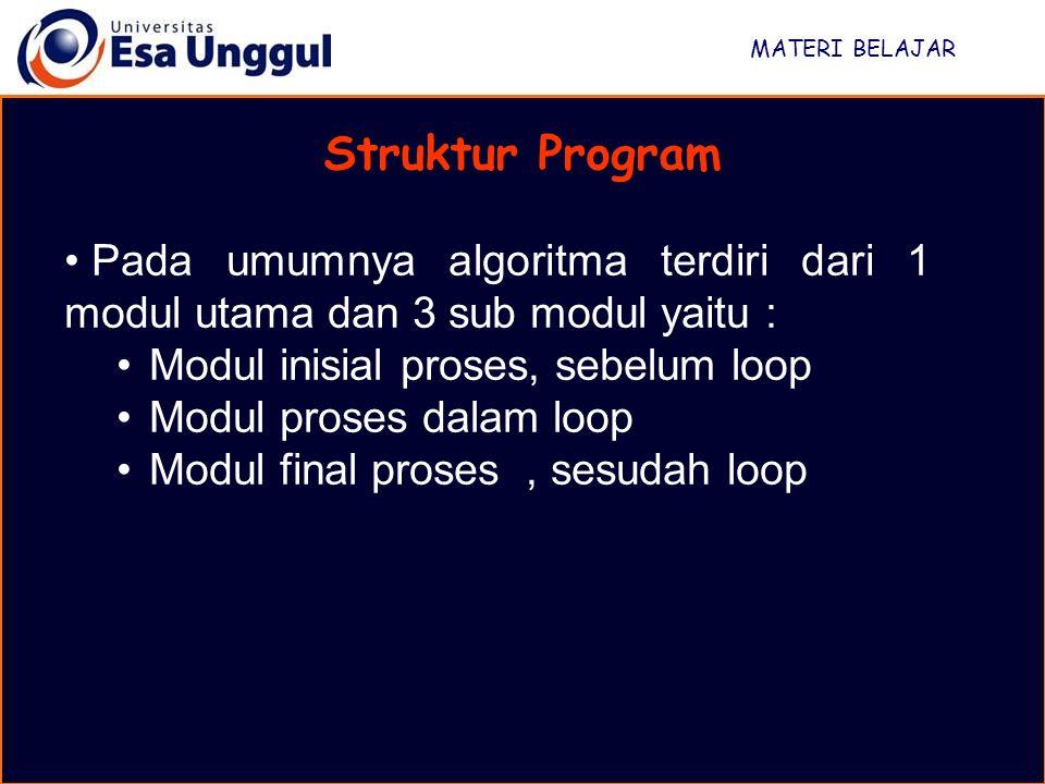 MATERI BELAJAR Struktur Program. Pada umumnya algoritma terdiri dari 1 modul utama dan 3 sub modul yaitu :
