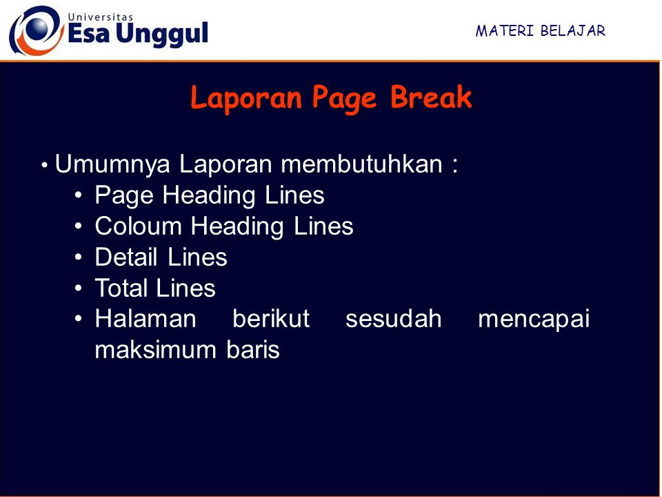 Laporan Page Break Page Heading Lines Coloum Heading Lines