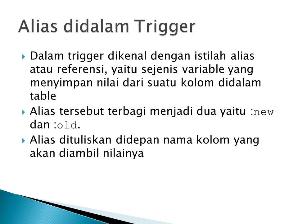 Alias didalam Trigger
