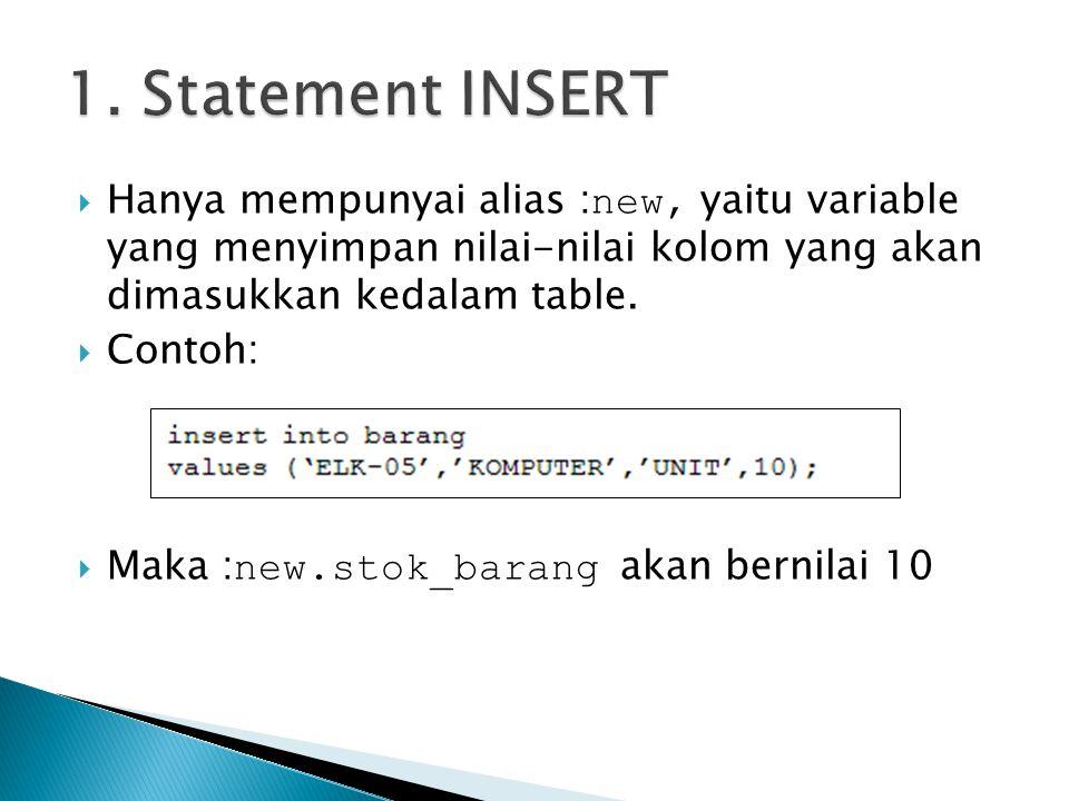 1. Statement INSERT Hanya mempunyai alias :new, yaitu variable yang menyimpan nilai-nilai kolom yang akan dimasukkan kedalam table.