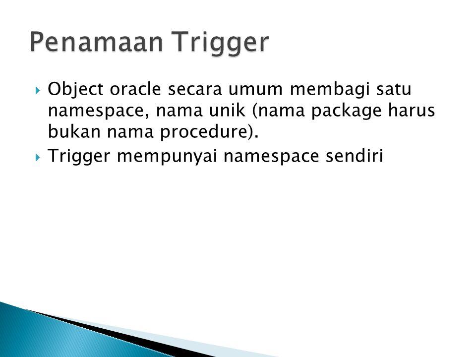 Penamaan Trigger Object oracle secara umum membagi satu namespace, nama unik (nama package harus bukan nama procedure).